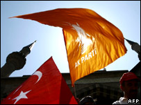 People wave the AKP and Turkish flags at a rally (file image)