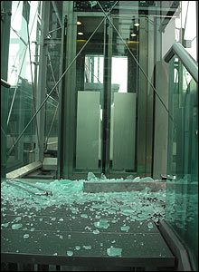 Shattered door at Canary Wharf