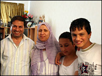 Halim Ibrahim with his wife Wafa and two of their children