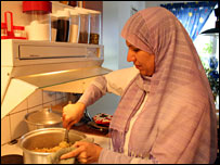 Wafa Ibrahim in her kitchen in Amal