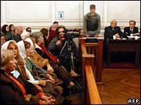 Courtroom with Christian Von Wernich second from right