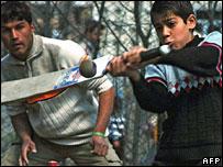 Afghan boys playing cricket