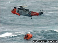 Royal Navy helicopter rescues Napoli crew. Picture: AFP/Getty Images