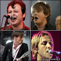 Clockwise from top left - Manic Street Preachers, Keane, Feeder and The Feeling