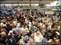 Crowds at Heathrow Airport