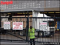 Closed gates at Farepak depot