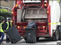 Refuse collectors in London, England