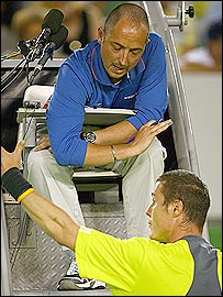 Safin repeatedly clashed with the umpire during his defeat