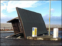 A blown over shelter at Hampton sea front, Herne Bay, Kent. Picture sent in by Mr RJ Middleton.