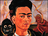 """Detalle del cuadro """"Autorretrato con changuito"""", 1945, de Frida Khalo. D.R. @ 2007 Banco de M�xico."""