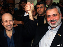 Alan Johnston and Hamas leader Ismail Haniya
