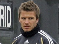 David Beckham training for Real Madrid