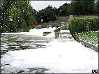 The foam spillage