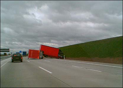 Truck upturned on a German autobahn (Pic: Colin Scowen)