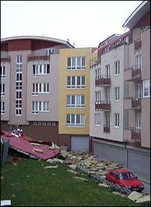 Rubble by an apartment block in Prague (Pic: Daniel Kelcher)
