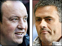 Liverpool manager Rafael Benitez (left) and Chelsea counterpart Jose Mourinho