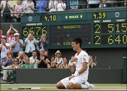 Djokovic celebrates his epic win