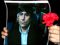 A protester holds up a photograph of murdered journalist Hrant Dink