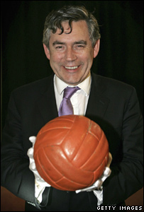 Gordon Brown with the ball with which England won the 1966 World Cup