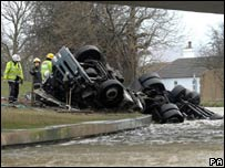 A woman died when this lorry overturned