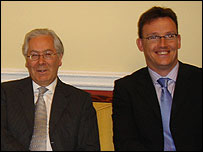 Mervyn King, Governor of the Bank of England (L), and Inside Money listener Adam Potter