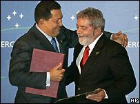 President Chavez of Venezuela (l) and President Lula of Brazil (r)