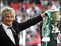 Rod Stewart at the Tennant's Scottish Cup final at Hampden Park, Glasgow, in May 2007