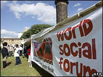 World Social Forum banner in Nairobi