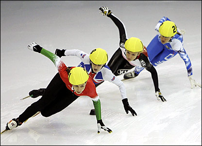 Hungary's Rozsa Darazs (left) leads a 1500m heat at the European Short Track Speed Skating Championships