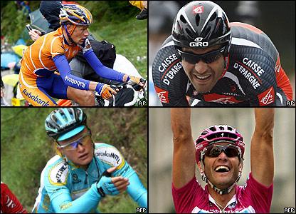 Michael Rasmussen (arriba izq.), Oscar Pereiro (arriba der.), Alexandr Vinokourov (abajo izq.) y Alessandro Petacchi (abajo der.)