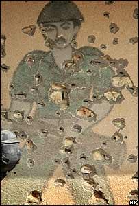 Imagen pintada en una pared de Faluya para práctisas de tropas de EE.UU.