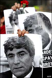 People hold posters of slain journalist Hrant Dink