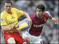 Watford defender Malky Mackay (left) keeps close tabs on Aston Villa striker Juan Pablo Angel