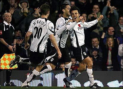 Vincenzo Montella (right) celebrates scoring for Fulham