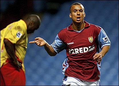 Gabriel Agbonlahor celebrates scoring Aston Villa's second goal