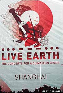 A promotional flag for Live Earth in Shanghai