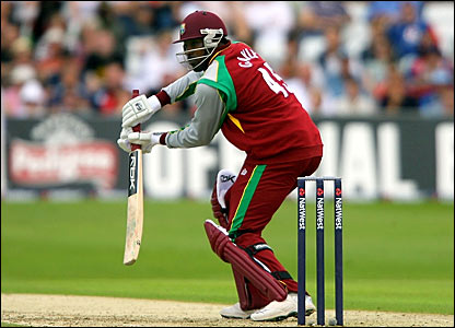 Chris Gayle nudges the ball through the gully region