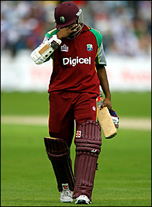 Shivnarine Chanderpaul trudges off after being caught out for 33 at Trent Bridge