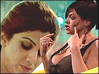 Jade Goody en entrevista tras su expulsi�n.  Shilpa Shetty en pantalla. Foto: Channel 4.