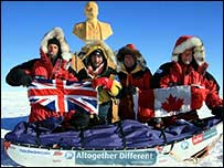 Rory Sweet, Henry Cookson, and Rupert Longsdon at the Pole of Inaccessibility with their Canadian guide Paul Landry