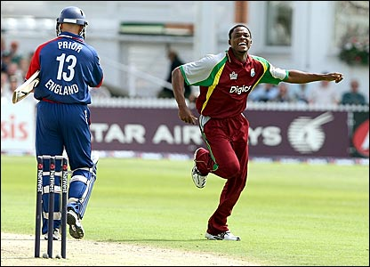 matt Prior (left) departs for one while Daren Powell celebrates