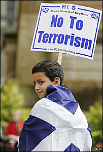 Nine-year-old Mohamed Souidi at the Scotland United Against Terror rally