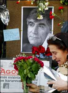 Candles and photograph at memorial to Hrant Dink