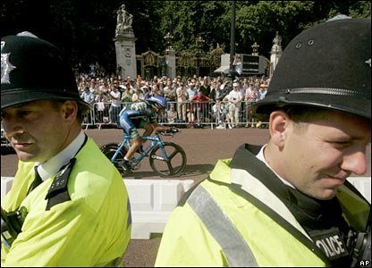 Policemen at the start of the Tour de France