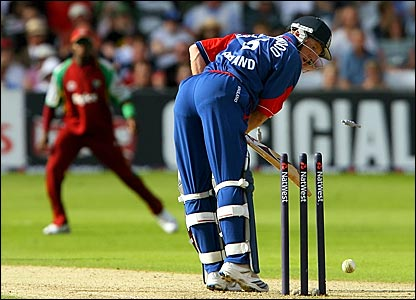 England captain Paul Collingwood is bowled for 44