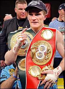Ricky Hatton with the IBF light-welterweight belt