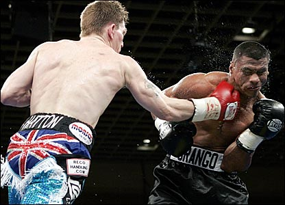 Ricky Hatton (left) lands a punch on Juan Urango