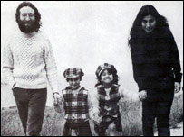 John Lennon, Yoko Ono and their children Julian and Kyoko in Durness in 1969