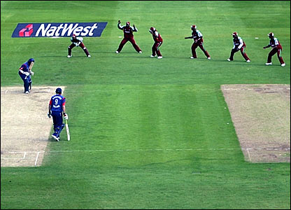 The West Indies wicketkeeper and slip cordon unsuccessfully appeal for a caught behind against Monty Panesar (left)