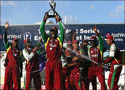 West Indies players celebrate their series win over England